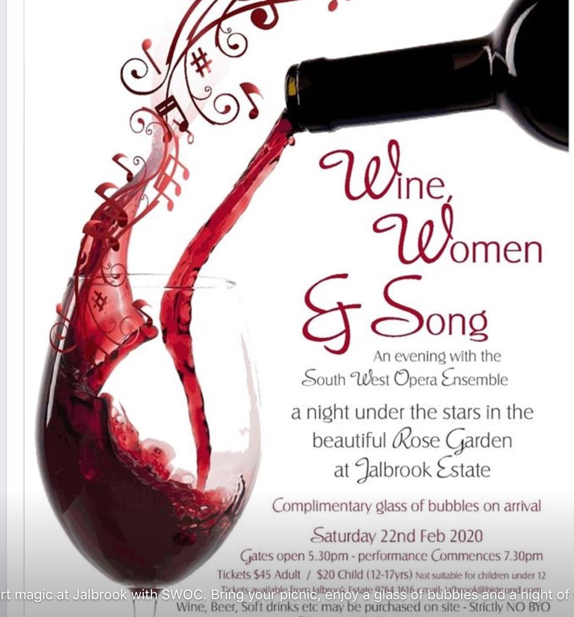 Wine, Woman and Song. An evening with the South West Opera Ensemble. A night under the stars in the beautiful Rose Garden at Jalbrook Estate. Complimentary glass of bubbles on arrival Saturday 16th February 2019